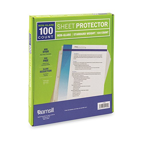 Samsill Heavyweight Non-Glare Poly Sheet Protectors, Box of 100, Acid Free & Archival Safe, Top Loading, Letter Size - 8.5 x 11