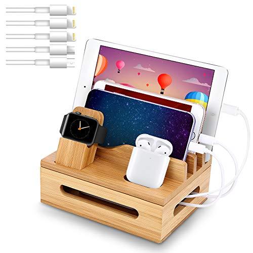 Organizador de cables de madera bamboo (c/ 5 cables usb)