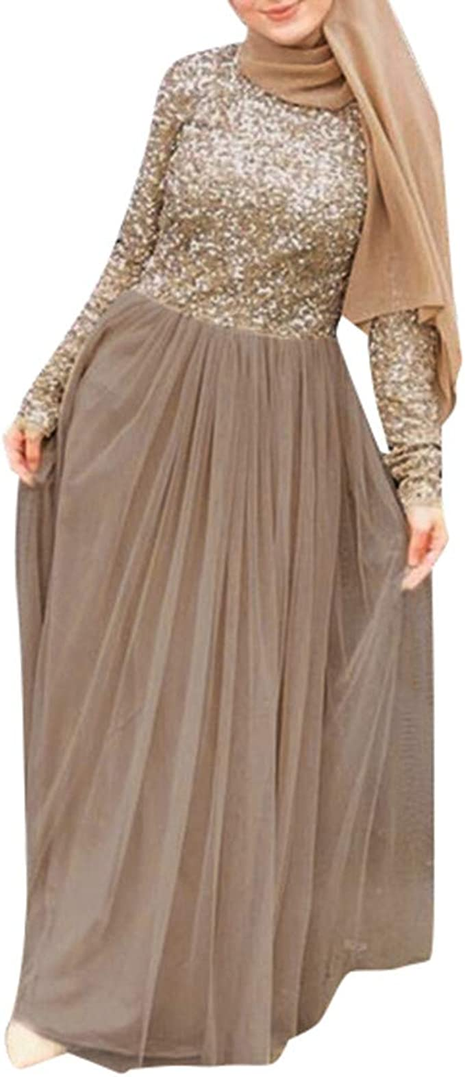 Women_Dress Wong Faldas largas de Lentejuelas para Mujer, Elegante ...