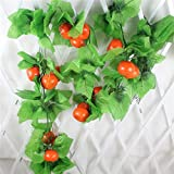 Mynse 5 Pieces Fake Fruit String Home Garden Fence Market Decoration Artficial Orange and Vines 95''