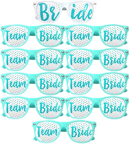Team Bride Party Glasses – Novelty Sunglasses for Weddings, Bachelorette Parties and Bridal Showers (10pc Set, Cyan)