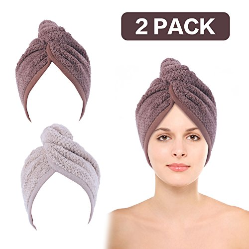 2 Pack Hair Towel Wrap Turban Microfiber Drying Bath Shower Head Towel with Buttons, Quick Magic Dryer, Dry Hair Hat, Wrapped Bath Cap(Off white and Brown) by JIEROSE