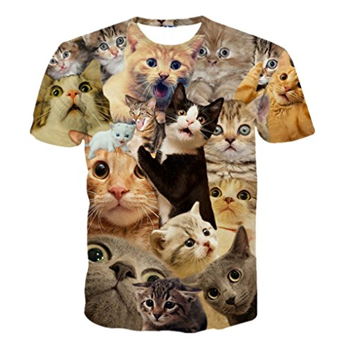 Chiclook-Cool-3D-Funny-Cat-Faces-Summer-Men-Women-Casual-Swag-Tops-T-Shirt