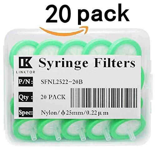- Linktor Syringe Filter Nylon Orangnic Filtration, 25mm Diameter 0.22um Pore Size Non-sterile Pack of 20