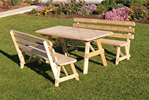 Outdoor 6 Foot Pine Picnic Table with 2 Backed Benches - STAINED- Amish Made USA -Bees Wax