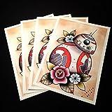 Tattoo Prints Best Deals - BB-8 Star Wars Tattoo Flash Print by Michelle Coffee
