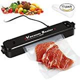 DABASO Vacuum Sealer,Portable Multi-Use Automatic Vacuum Sealing Machine for Food Preservation and Storage,Dry & Moist Food Mode,15pcs Bags(FDA-Certified)(Black)