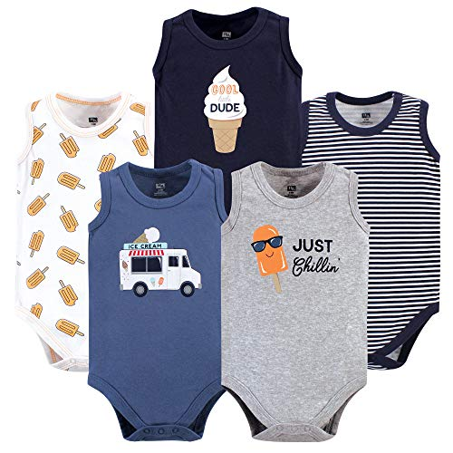 Hudson Baby Unisex Baby Sleeveless Cotton Bodysuits, ice Cream Truck 5-Pack, 0-3 Months ()
