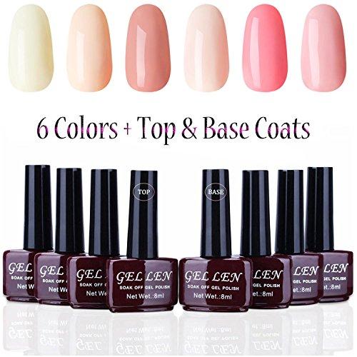 Gellen Warm Colors Gel Polish 6 Colors Kit with Top Base Coat- Apricot Pink Peach Colors Manicure 8ml