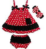 Jubileens 2 PCS Baby Toddlers Infant Girls Cotton Cute Dress+ Underpants Outfit Sets (S(0-6 months), Red Dot)