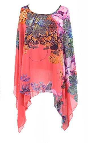 Century Star Women's Chiffon Floral Printed Dolman Sleeve Beach Loose Poncho Top Blouse Red