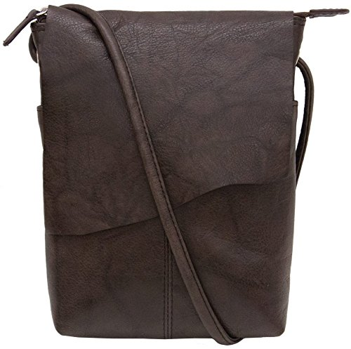 (ili New York 6647 Leather Mini Sac Flap Crossbody (Walnut))
