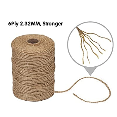 Vivifying 2.32mm 6Ply Jute Twine, 328 Feet Natural Thick Brown Twine for Garden, Gifts, Crafts : Office Products