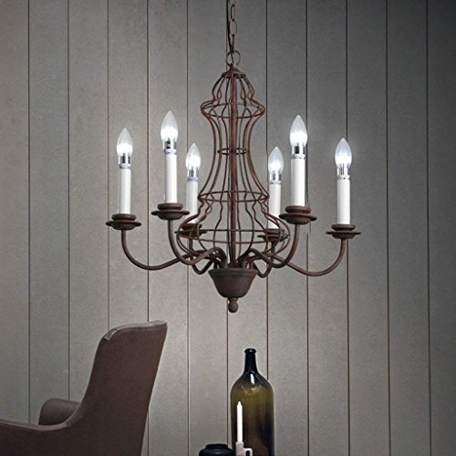 XQY Living Room Chandelier, Bar Restaurant Decoration,Illuminated Creative Personality Chandeliers American Village Iron Candlestick Living Room Bedroom Restaurant Bar Six Retro Chandeliers Decorativ