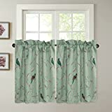 H.VERSAILTEX Energy Smart Room Darkening Rod Pocket Blackout Curtain Tier Panels for Multi Size - Sage Green Base with Turquoise Birds