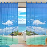 MRMIAN Tulle Curtain Voile Curtain Beautiful Beach Blue Sea Sheer Panel Drape Door fender valance Window Curtain Panels for Bedroom Living Room 2 Panels Review