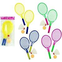 Gewelwelt 61118WU 4 x Shuttlecock Game 4 Pieces 2 Bats & 2 Balls Beach Ball Tennis Ball Set Table Tennis Ball Set Badminton