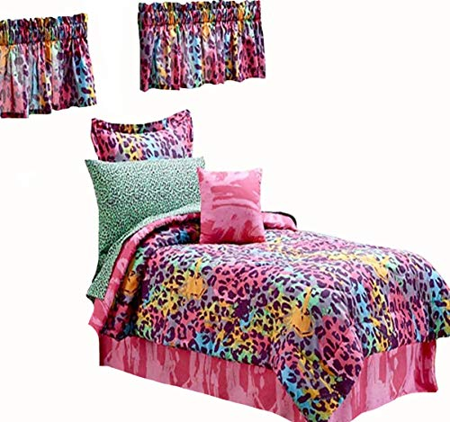 SAFRI HOME Teen Girls Multi Color Safari Jungle Leopard Print Comforter & Sheet Set, Toss Pillow and Two Window Valances (11pc Full Size Room Ensemble)