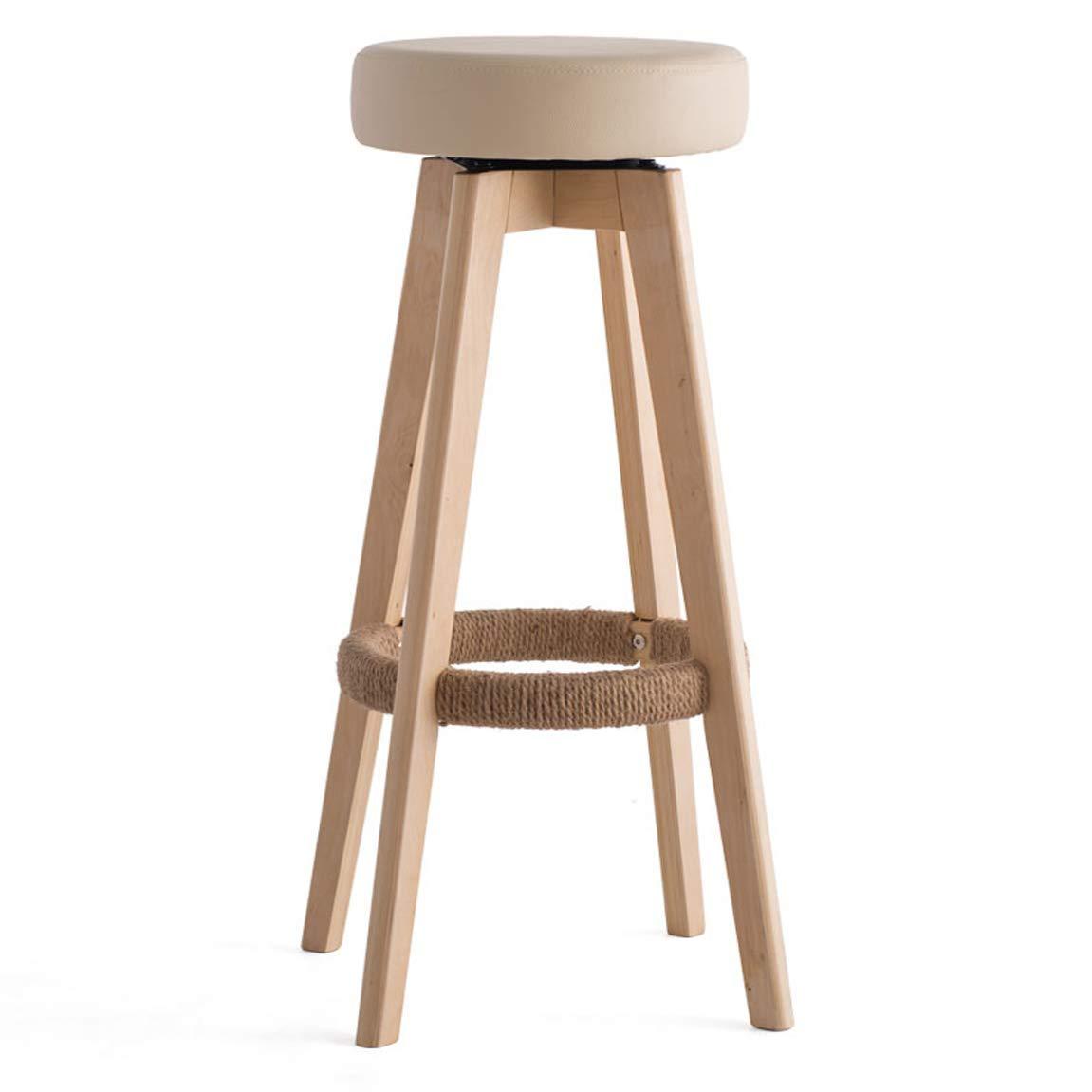 Carl Artbay Bar Chair Bar Chair High Stand Household Solid Wood Bar Stand Modern Simple redary Creative European Chair 74 cm High 3 Strong and Practical