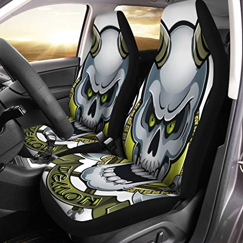 Semtomn Front Car Seat Covers Set of 2 Ancient Skull Horns Crossing Battle Axes and Text Demon Fit Most Vehicle, Cars, Truck, SUV, Van
