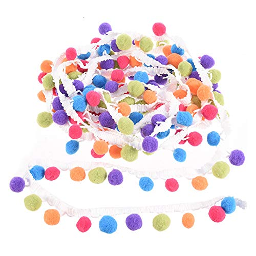 Ribbon, 5 Yards Handmade Rainbow Pom Pom Ball Fringed Sideband Sewing Fabric Suitable for All Kinds of DIY Craft White