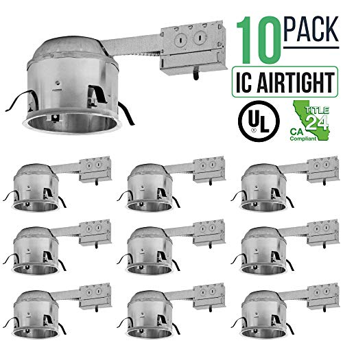 "Price comparison product image 6"" inch Shallow Remodel LED Can Air Tight IC Housing LED Recessed Lighting- UL Listed and Title 24 Certified, TP24 (10 Pack)"