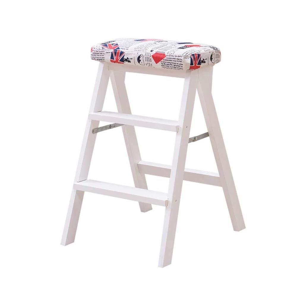 無垢材折りたたみスツールホームクライミングスツールファッションクリエイティブ折りたたみ椅子ポータブルデュアルユースキッチンベンチ階段スツール42×49×63 cm ZHHCP (Color : C) B07S3QYL1D C