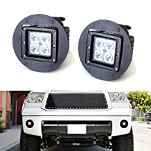 iJDMTOY 40W CREE Cubic LED Pod Light w/ OEM Fog Light Location Mount Brackets, Metal Bezel Covers and Wirings For Toyota Tundra Tacoma Sequoia or Solara