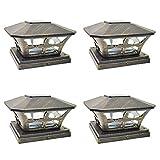 iGlow 4 Pack Vintage Bronze Garden 6 x 6 Solar SMD LED Post Deck Cap Square Fence Light Landscape Lamp PVC Vinyl Wood
