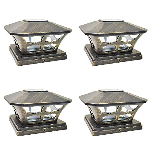 (iGlow 4 Pack Vintage Bronze Garden 6 x 6 Solar SMD LED Post Deck Cap Square Fence Light Landscape Lamp PVC Vinyl Wood)