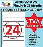 2400 étiquettes pour timbre 63,5 x 33,9 mm compatible montimbre en ligne étiquette pour timbre SOIT 100 planches de 24 étiquettes(l7159) boite carton rigide Fabricant: univers graphique ® FACTURE AVEC TVA