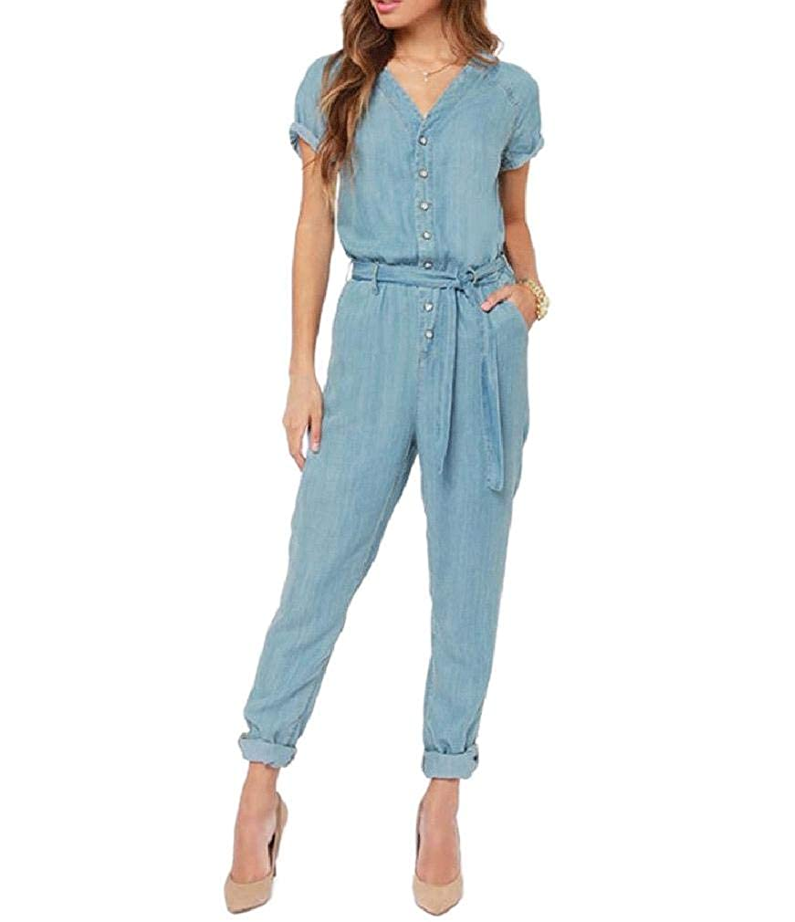 Winwinus Womens V Neck Belted Design Short Sleeves Washed Jeans Rompers Playsuit