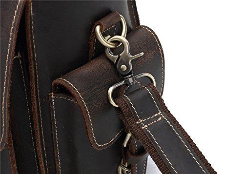 Genda 2Archer Resistente Cuoio di Cavallo Pazzesco Multifunzionale Borsa Fotografica Borsa Borsa da Viaggio (33 cm * 15cm * 23cm)