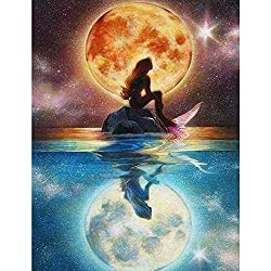 5D Diamond Painting Kits for Adults Diamond Painting by Number Kits Adults Full Frill Arts Craft Wall Decor Mermaid Under The Moonlight 11.8x15.7in 1 by Loxfir