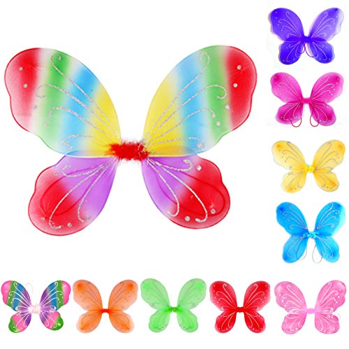 Dushi Girls Butterfly Fairy Wings for Fairy Costumes Party Favor Mixed Color Set of 10 Pack ()