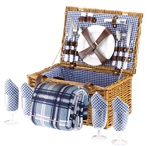 Wicker Picnic Basket Blue Checked Pattern
