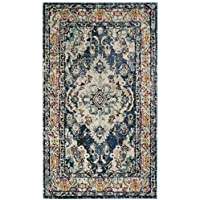 Safavieh Monaco Collection MNC243N Vintage Bohemian Navy and Light Blue Distressed Area Rug (3 x 5)