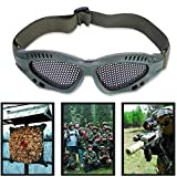 Tbest Gafas Protectoras de Malla, Gafas de Malla Metal Ajustable Gafas de Protección Deportiva Airsoft con Correa Ajustable para Disparos de Juego de CS Militar Táctico Al Aire Libre