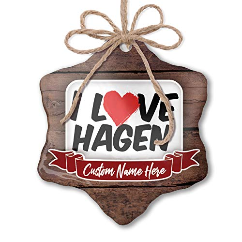 NEONBLOND Custom Family Ornament I Love Hagen Personalized Name
