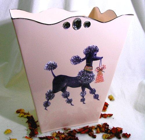 Vintage French Poodle Wastebasket, Trash Receptacle, Trash Holder or Bin ~ E20 Shabby Chic Pink Enamel Coated Metal Waste Basket with French Vintage 50's Poodle Decoupage Art