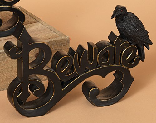 Vintage Style Cutout Halloween Signs with Crow - Tabletop Standing Decoration (Beware)