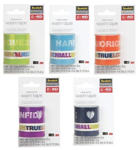 One Direction 1D + OD Together Washi Tape (5 Tape Packs, Bundle)