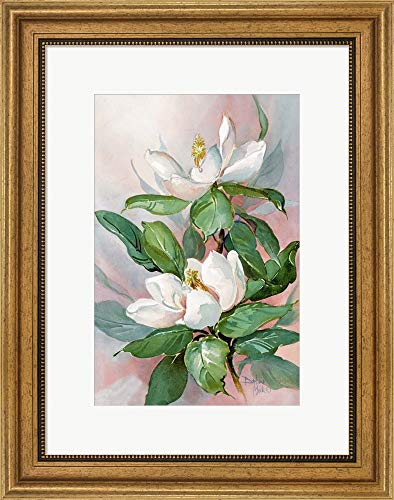 Classic Magnolia A by Barbara Mock Framed Art Print Wall Picture, Wide Gold Frame, 17 x 22 inches