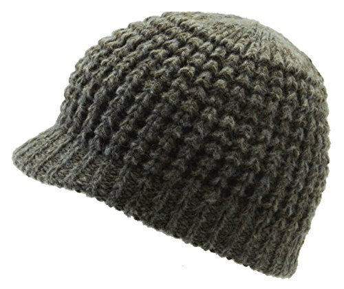 Icebox Knitting Dohm Super Soft Woodland Winter Wool Hat Beanie Skull Cap with Visor for Men and Women