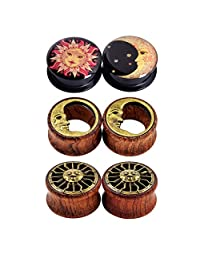D&M Jewelry 6PCS Acrylic&Wood Moon and Sun Tunnels Plugs Ear Stretcher Expander Ear Piercing 0g-3/4""