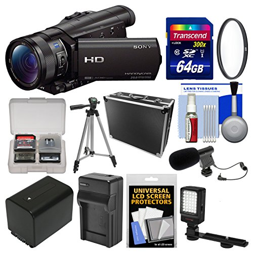 Sony Handycam HDR-CX900 Wi-Fi HD Video Camera Camcorder with 64GB Card + Case + LED Light + Battery/Charger + Tripod + Filter + Kit (Sony Hdr Cx900)