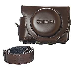 Clanmou WX500 Protective Camera Leather Case Bag Cover for Sony Cyber-shot DSC-HX90V HX90 DSC-HX80 with Camera Shoulder Strap Dark Brown