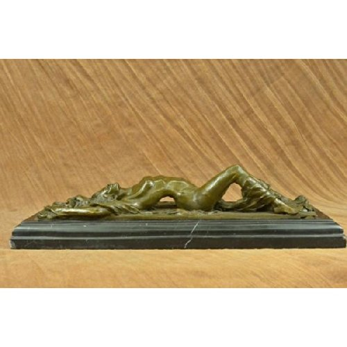 Signed Original Odegaard Nude Naked Laying Female Bronze Sculpture Marble Statue