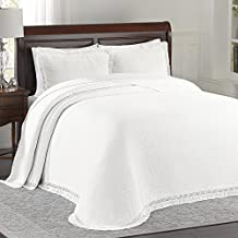 LaMont Home Woven Jacquard Queen Bedspread, White