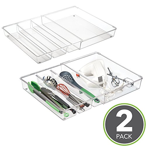 "mDesign Adjustable, Expandable 4 Compartment Kitchen Cabinet Drawer Organizer Tray - Divided Sections for Cutlery, Serving, Cooking Utensils, Gadgets - BPA Free, Food Safe, 3"" Deep, Pack of 2, Clear"